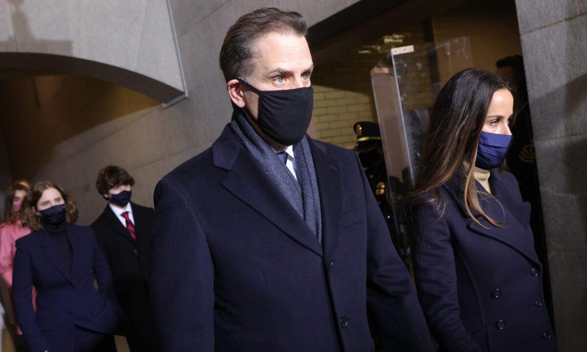 圖:2021年1月20日,亨特·拜登抵達美國國會大廈西門參加祖·拜登的就職典禮。(Win McNamee/Getty Images)