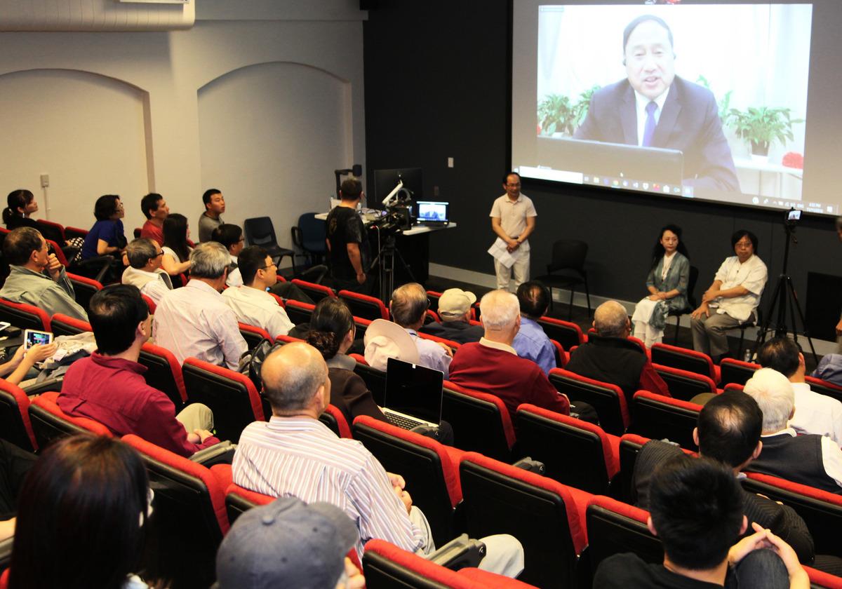紀錄片《假孔子之名》在悉尼再次放映,三位嘉賓與觀眾互動,討論孔子學院的實質。(駱亞/大紀元)