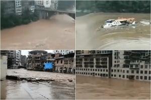 四川達州洪災氾濫 災民生活陷困境