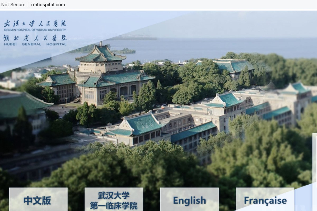 武漢大學人民醫院被指內部職工及家屬感染了至少五百多人,官方不公佈。(網頁截圖)