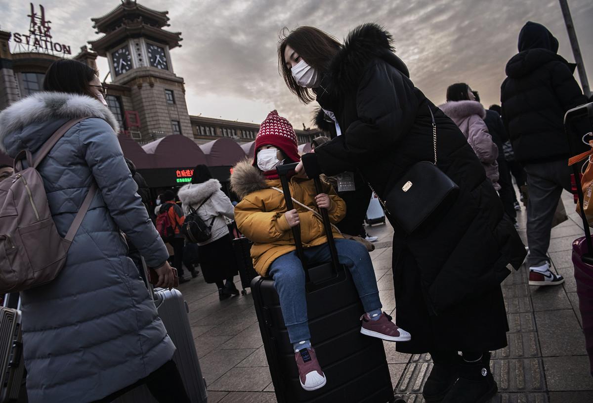 2020年1月21日的北京地鐵站:中共肺炎令人們憂心忡忡。(Kevin Frayer/Getty Images)