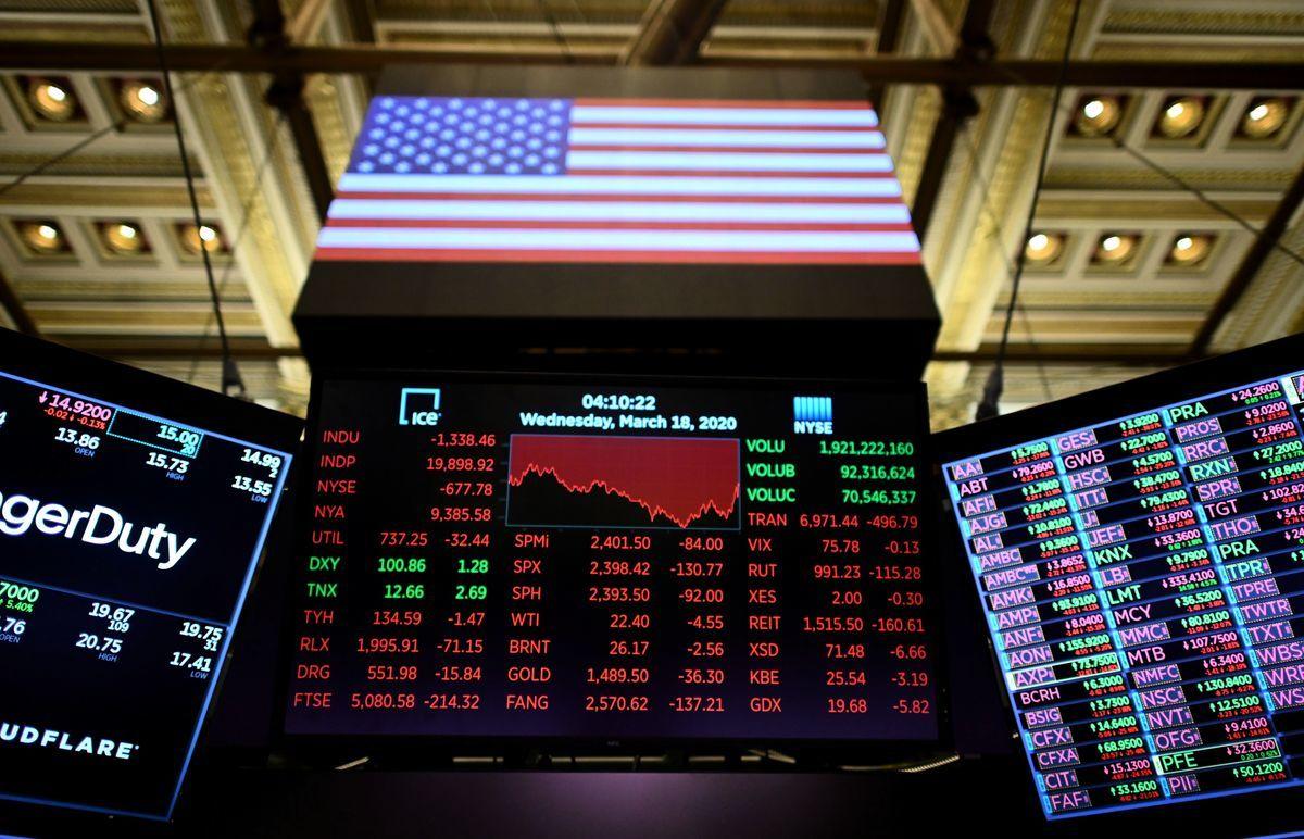 圖為紐約證券交易所(NYSE)2020年3月18日的電子看板。(Johannes EISELE/AFP via Getty)