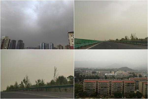 近日北京的天空。圖一空中是沙塵。(網絡圖片)