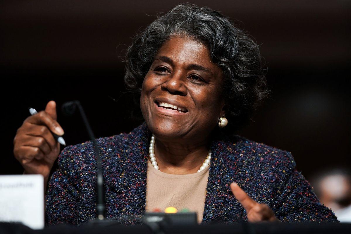 美國駐聯合國大使托馬斯-格林菲爾德(Linda Thomas-Greenfield)2021年1月28日出席參院聽證會。(GREG NASH/POOL/AFP via Getty Images)