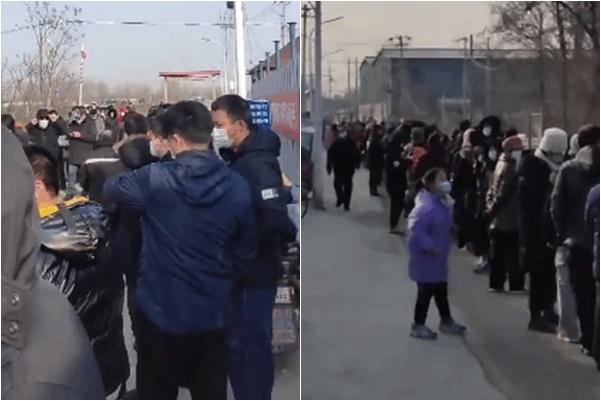 北京順義區因發生聚集性感染,本土病例持續攀升,多村被封,大量民眾被要求做核酸檢測。(影片截圖)