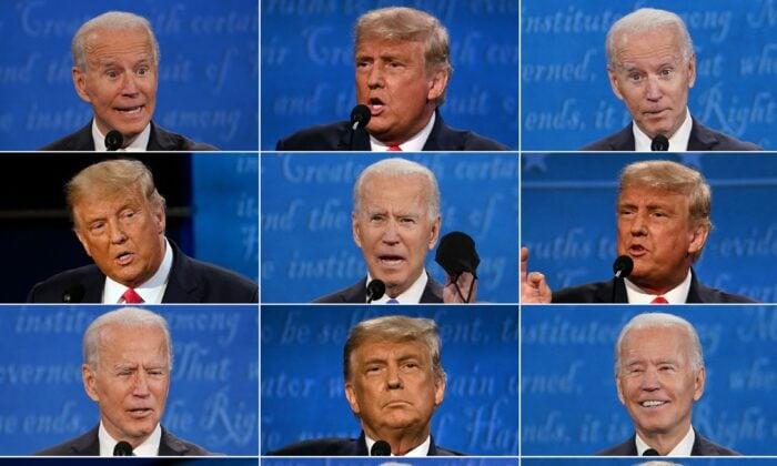這組圖片顯示,2020年10月22日,美國總統唐納德·特朗普和民主黨總統候選人、前副總統喬·拜登在田納西州納什維爾的貝爾蒙特大學舉行最後一場總統辯論。(Brendan SmialowskiI, Jim Watson, Morry Gash/AFP via Getty Images)