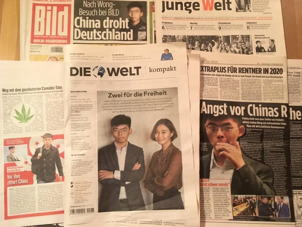 9月12日,雖然黃之鋒已離德赴美,但他的照片仍充滿了德國各類報紙的頭版或內頁。(大紀元)