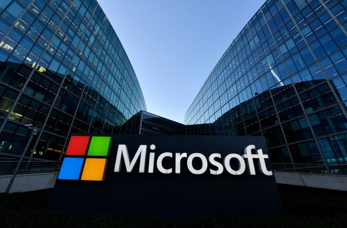 圖為美國科技公司微軟(Microsoft)的標誌。(GERARD JULIEN/AFP via Getty Images)
