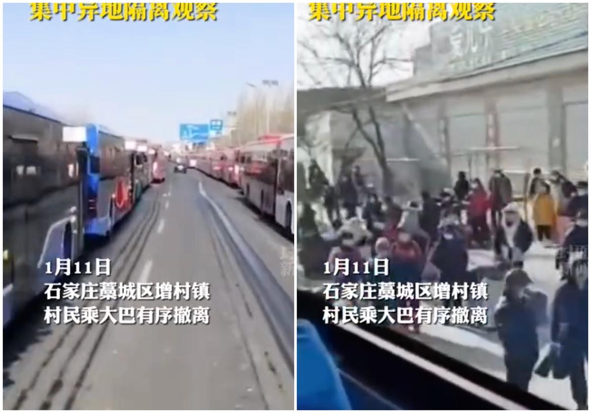 2021年1月11日,藁城大批村民攜帶隨身行李登上一輛輛旅遊巴士離開。(影片截圖)