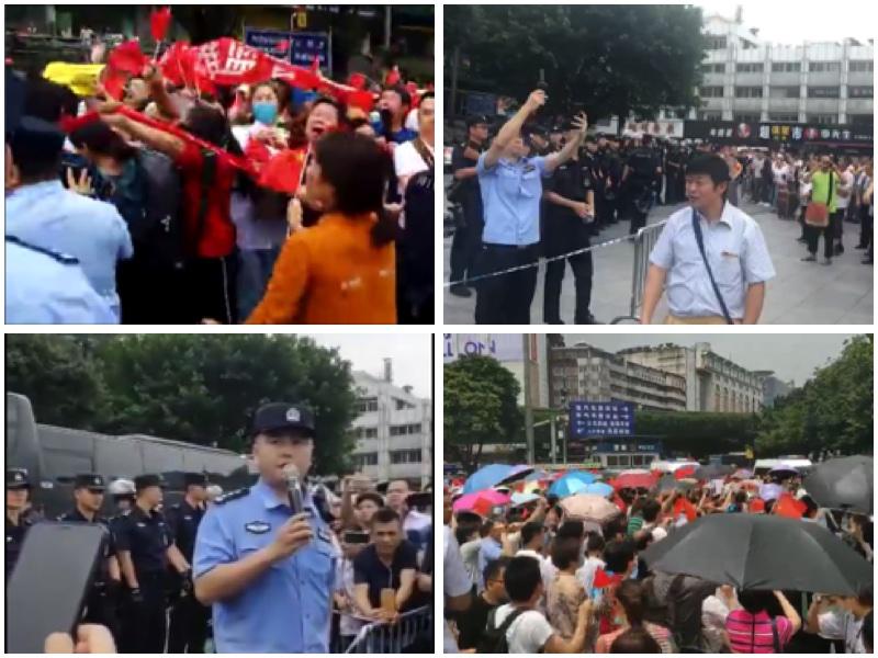 6月1日上千名團貸網受害人在廣州火車站維權,遭特警鎮壓。(大紀元合成圖)