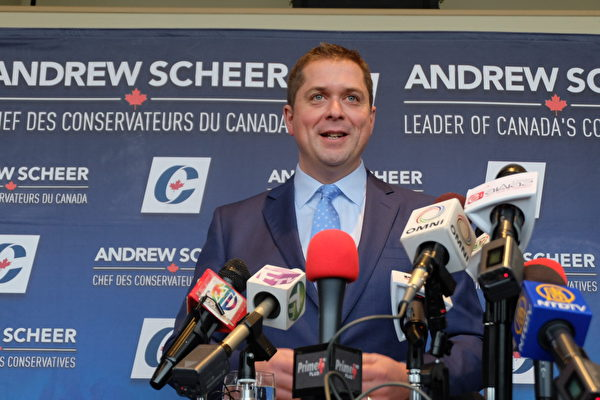2018年12月10日,加拿大保守黨領袖Andrew Scheer在多倫多談孟晚舟案。(周月諦/大紀元)