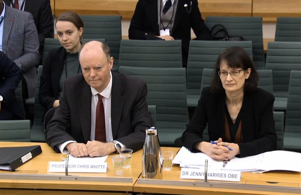 英國議會國會記錄部門(Parliamentary Recording Unit,簡稱PRU)播放的錄像片段中顯示,英國政府首席醫療顧問克里斯·惠蒂(Chris Whitty,左)和英國副首席醫療官詹妮·哈里斯(Jenny Harries,右)為健康與社會護理提供了證據,2020年3月5日在倫敦國會大廈處理中共病毒CCP Virus的委員會會議上。(various sources/AFP)
