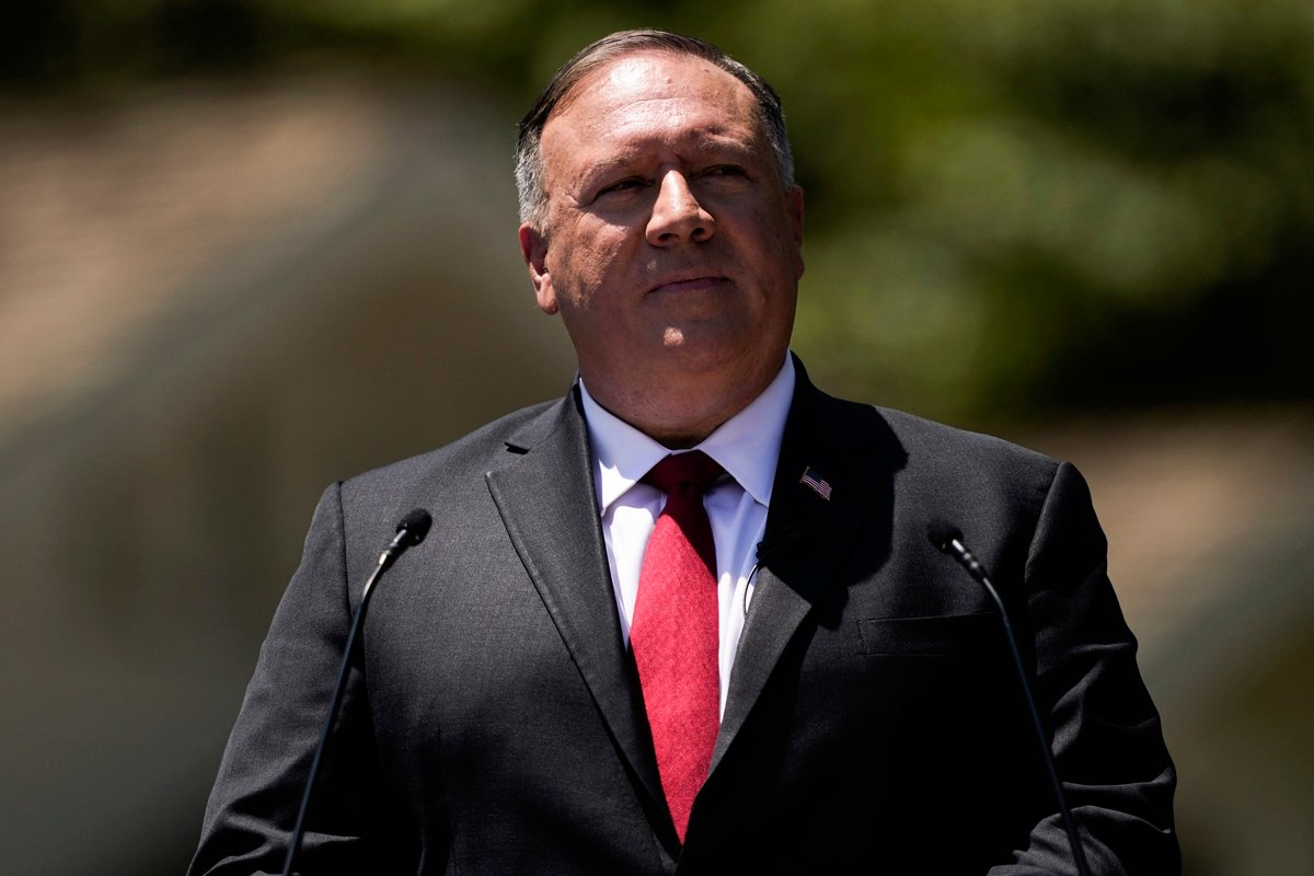 圖為美國國務卿蓬佩奧2020年7月23日在南加州尼克遜總統圖書館,就美國對華新政策,發表演講。(Ashley Landis/POOL/AFP)