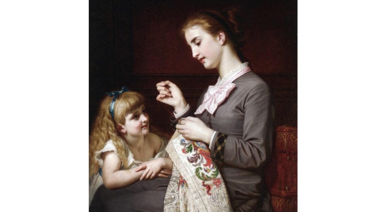 《刺繡課》,法國畫家雨果·梅爾勒(Hugues Merle)作。(Public domain)