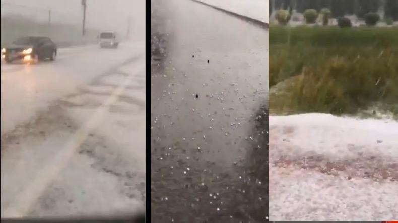 2020年7月5日下午,北京市懷柔區(中間圖片)下起了冰雹。河北保定(兩側圖片)也下起冰雹。(影片截圖合成)