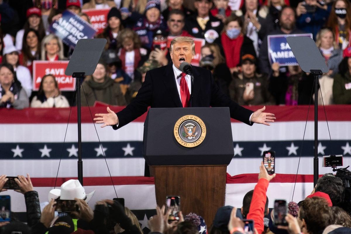 12月5日傍晚,美國總統在佐治亞州發表演講。(Lynn Lin/Epoch Times)