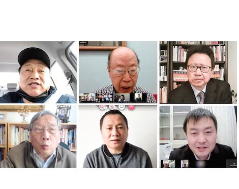 第一排從左到右:王軍濤、于金山、陳破空;第二排從左至右:胡平、王丹、董鵬。(會議影片截圖)