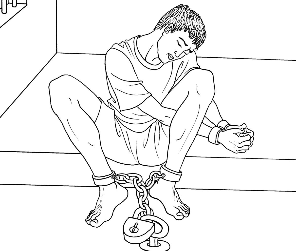 法輪功賴志強在冀東二監獄被迫害的生命垂危,處於植物人狀態,還被銬著重重的腳鐐。圖為中共酷刑示意圖:手銬腳鐐(明慧網)