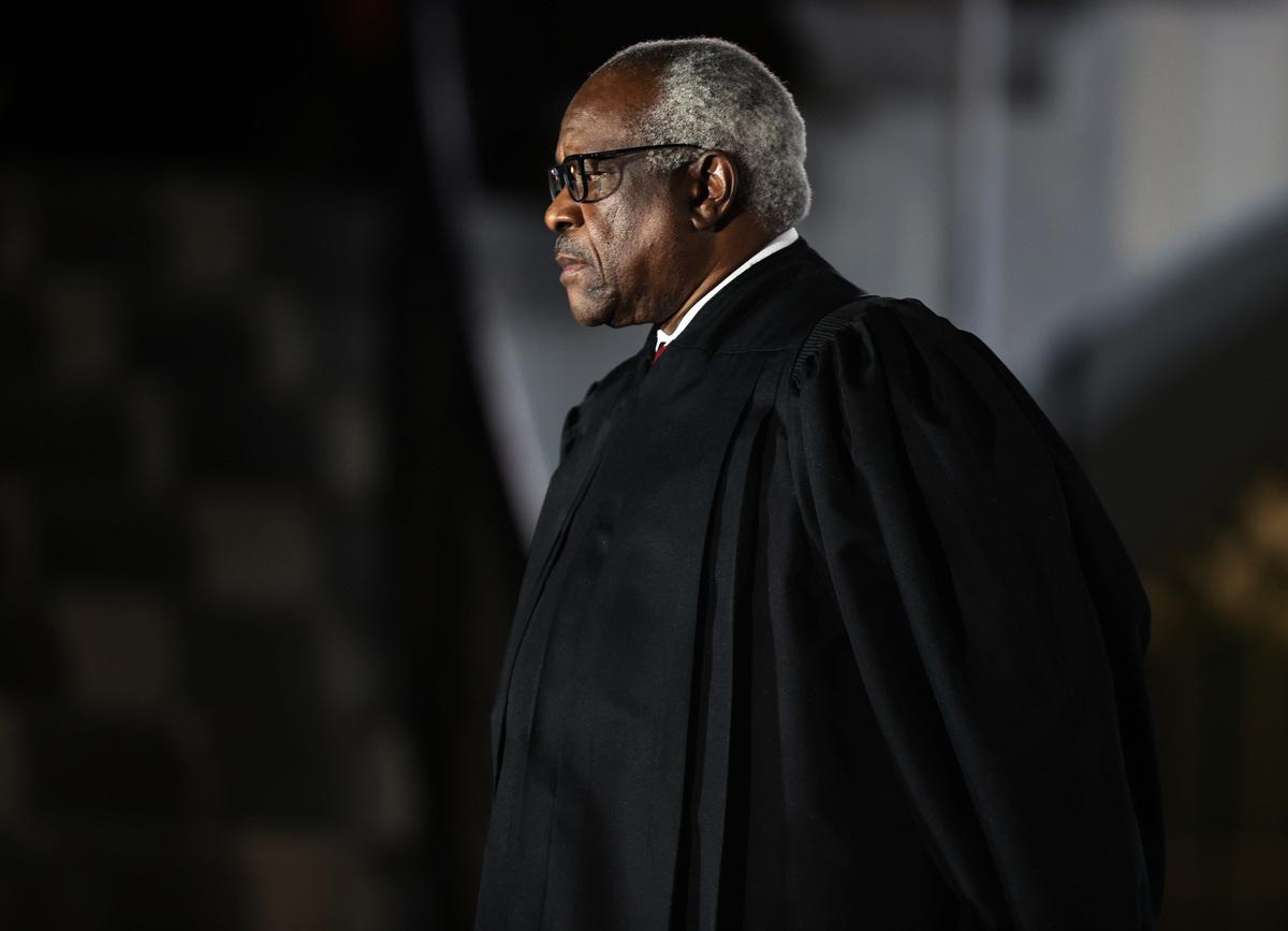 最高法院大法官克拉倫斯·托馬斯(Clarence Thomas)。(Tasos Katopodis/Getty Images)