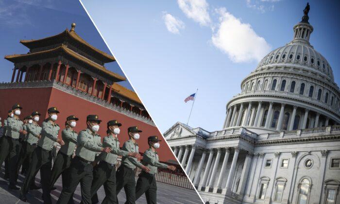 (左圖)2020年5月20日,中國北京天安門廣場附近,中國人民解放軍的儀仗隊在紫禁城外行進。(右圖)2020年12月29日華盛頓,冬日裏的美國國會大廈。(Kevin Frayer/Getty Images, Eric Baradat/AFP via Getty Images)