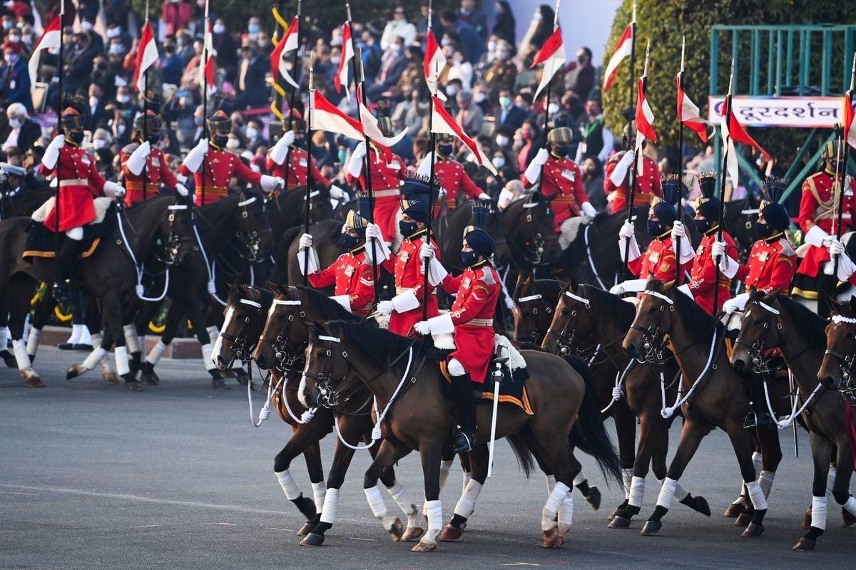 1月29日,印度總統衛隊在新德里的「打敗退縮」典禮上。(Money Sharma/AFP via Getty Images)
