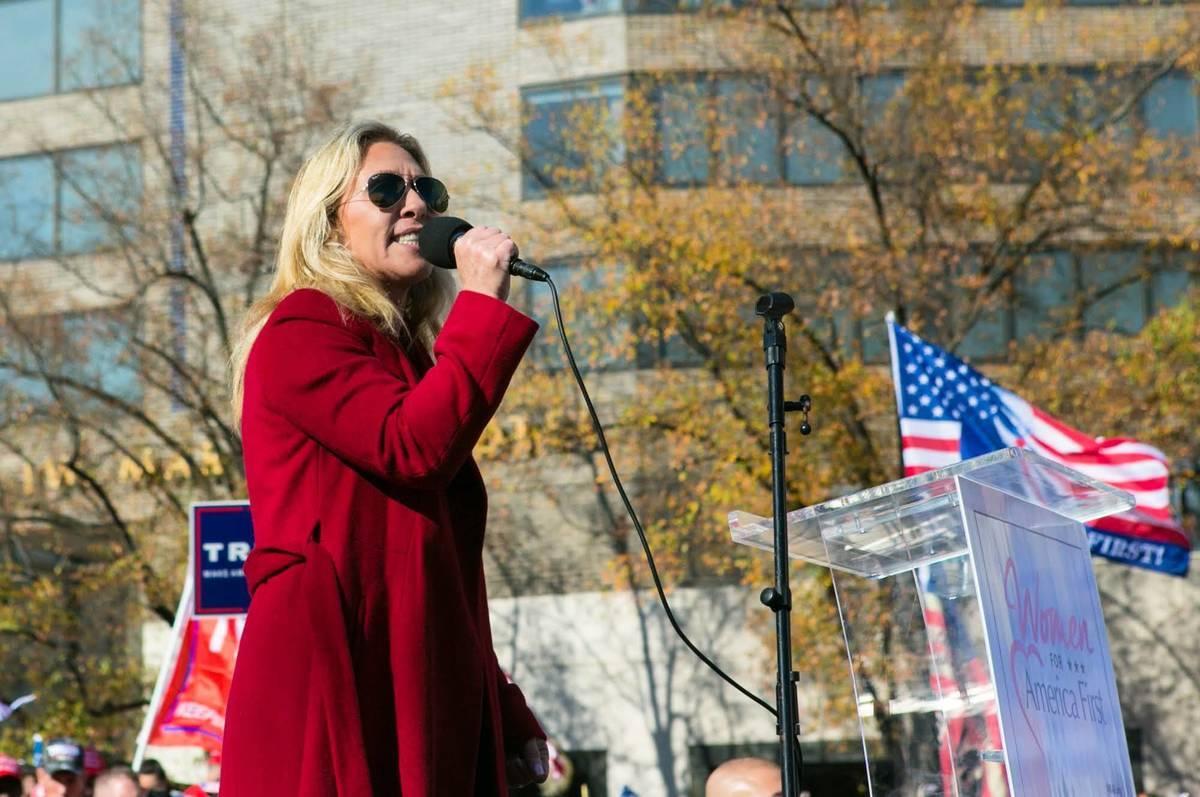 11月14日, 佐治亞州新當選眾議員Marjorie Taylor Greene在華盛頓DC舉行的來自全美各地約50萬人參加的「停止竊選(Stop the Steal)」集會上講話。(李莎/大紀元)