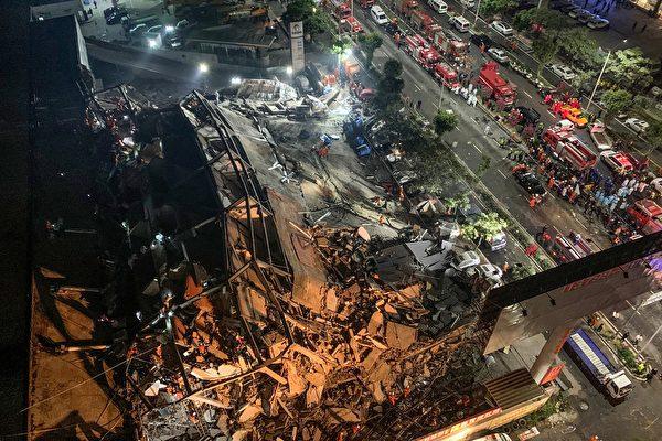 福建泉州中共肺炎隔離點的欣佳快捷酒店發生坍塌事故。(Photo by STR/AFP via Getty Images)