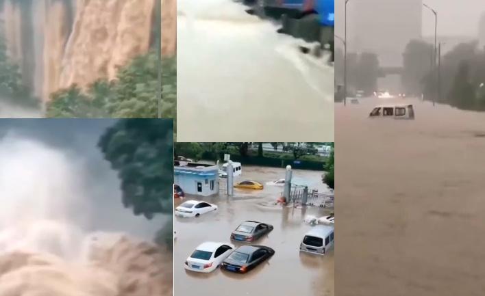 重慶市有百餘條河流出現超警以上洪水。2020年7月16日山西陽泉(右)突降暴雨,街道成河。(影片截圖合成)