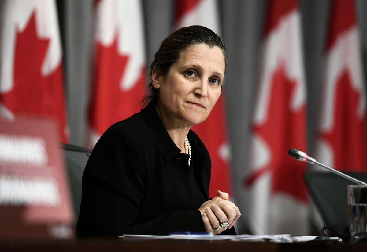副總理方慧蘭(Chrystia Freeland)曾表示,加拿大會保護本國公司免遭外國惡意收購。(加通社)