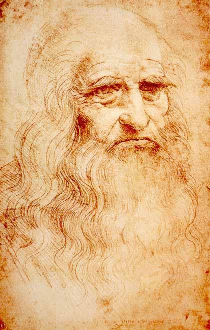 《自畫像》是現藏於都靈皇家圖書館的一幅紅粉筆畫的肖像,大約1,512年至1,515年作,被廣泛視為最初的達文西自畫像。(Royal Library, Turin/ Wikimedia Commons)