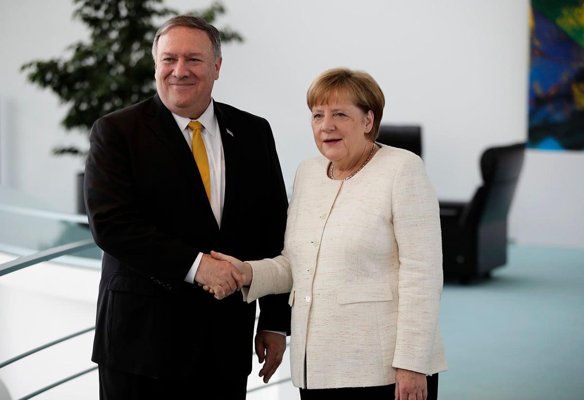蓬佩奧5月31日訪問德國,警告華為風險。(Odd ANDERSEN / AFP)
