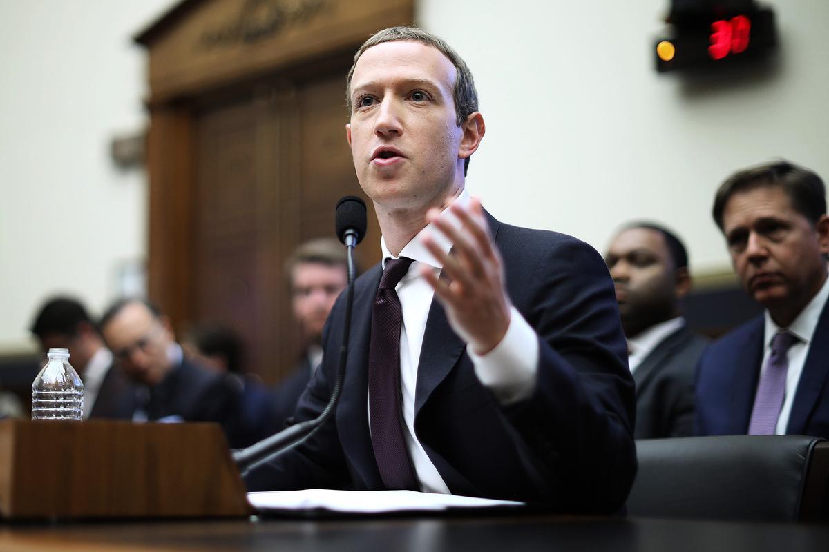 2019年10月23日,面書CEO朱克伯格出席美國國會聽證會作證。(Chip Somodevilla/Getty Images)
