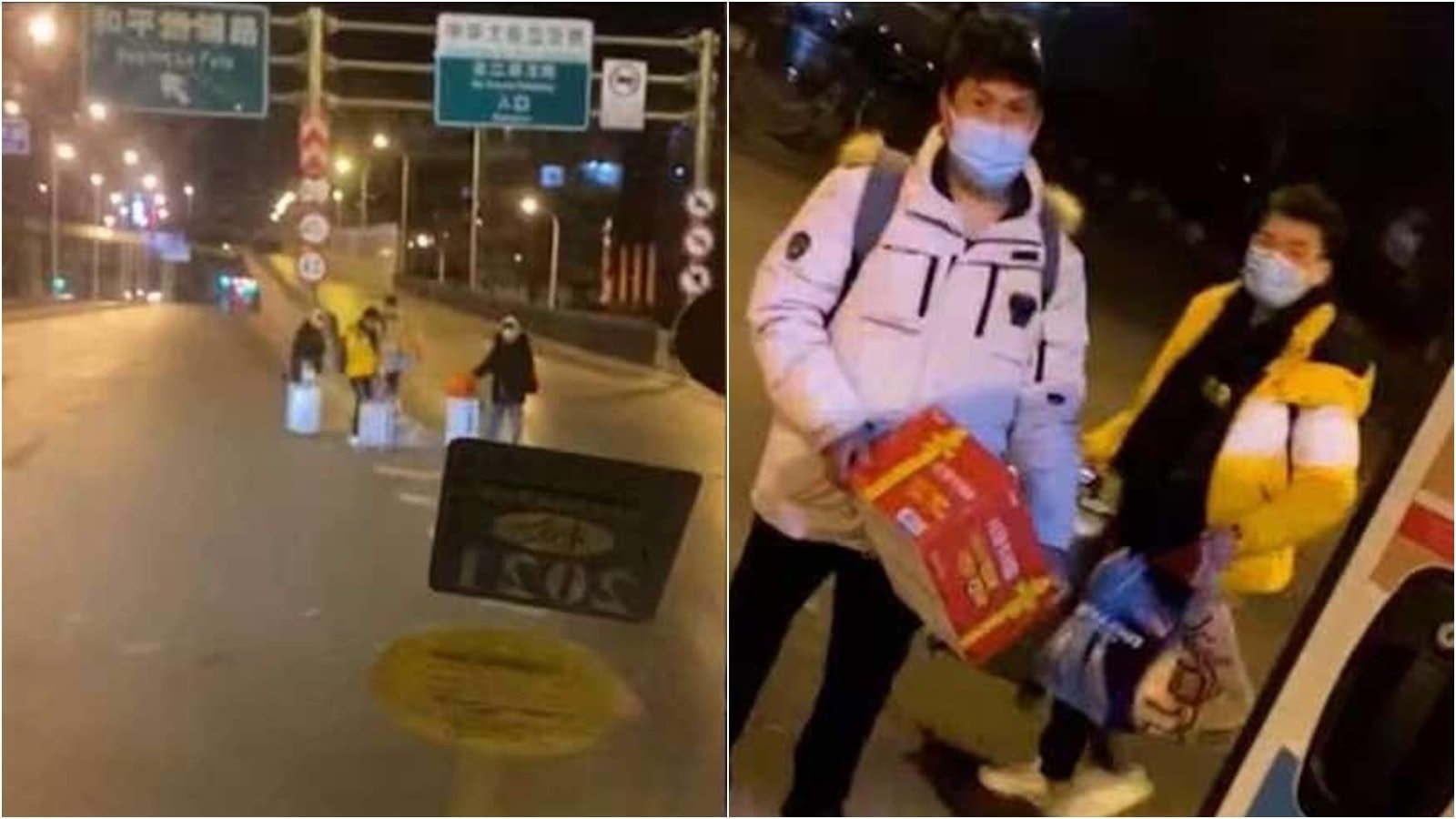 零度以下的寒冬,石家莊學生被滯留街頭,獲志願者救助。(影片截圖)