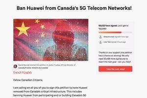 約10萬加國人網上請願 禁華為參與5G網絡