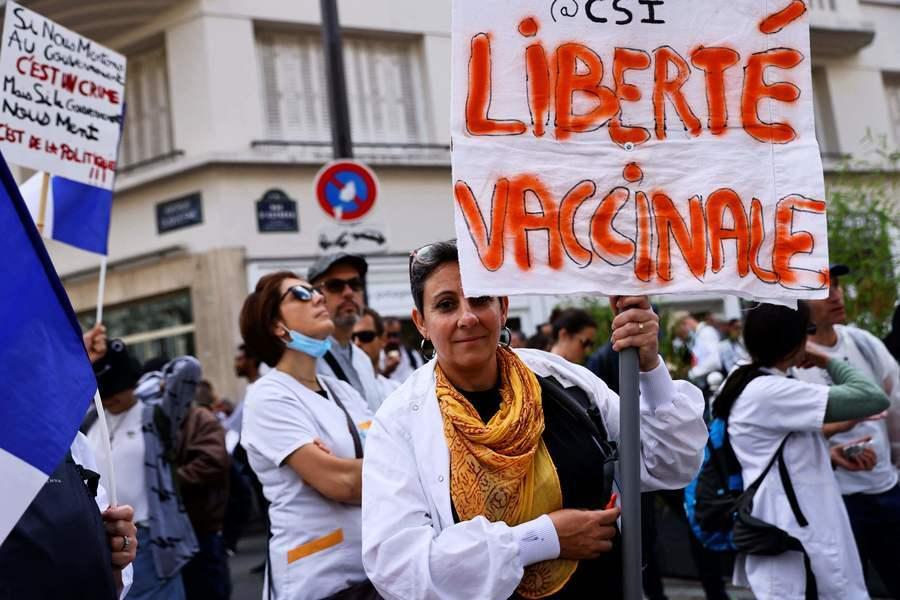 法國希臘強制打疫苗 民眾再上街抗議(多圖)