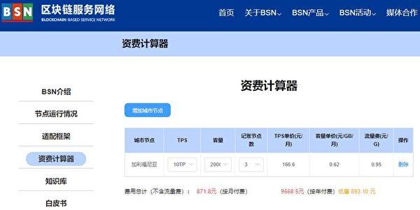 使用BSN官網資費計算器計算出的區塊鏈服務資費:3個節點/10TPS/200G容量(大紀元)