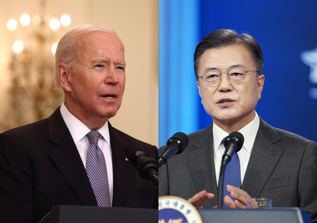 美國總統拜登,南韓總統文在寅即將舉行兩國首腦會談。(Anna Moneymaker/Getty Images、青瓦台/大紀元合成)