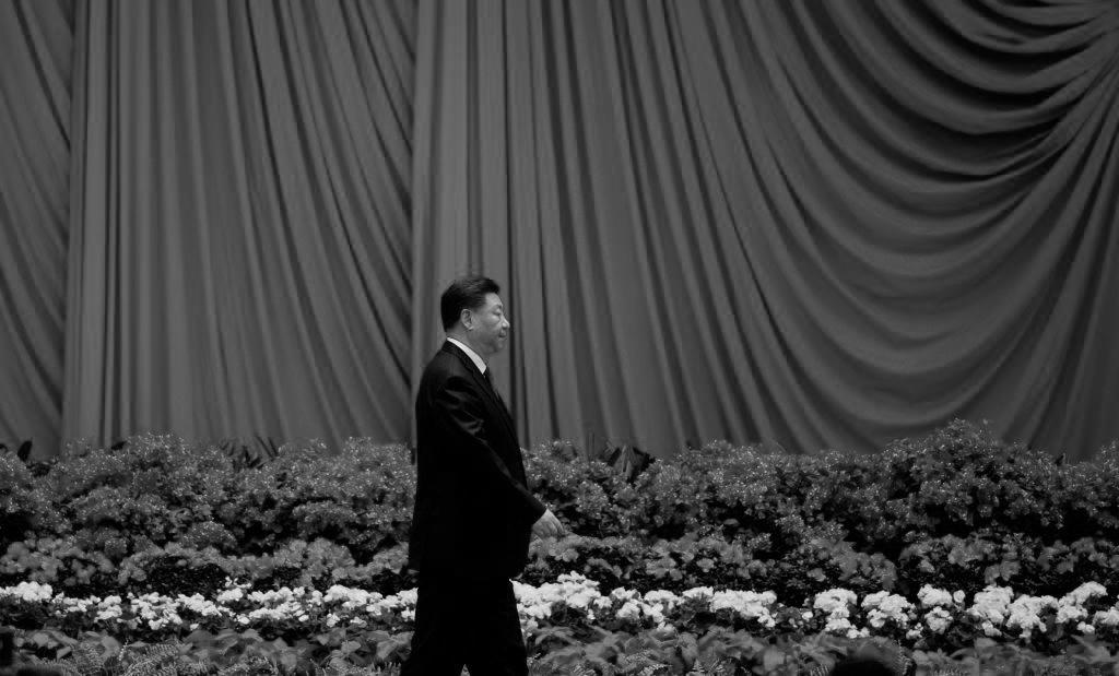 中共官方30日晚在北京舉行建政70周年晚宴。圖為習近平在宴會上。(NOEL CELIS/AFP/Getty Images)