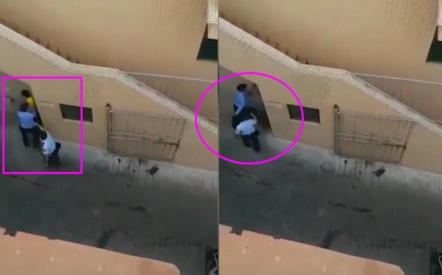 近日,網絡熱傳一段影片,即廣州警察毆打美團外賣小哥。(影片截圖合成)