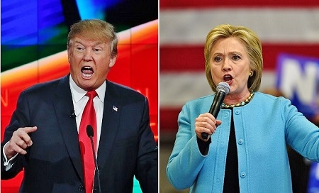 距離美國總統大選僅剩兩周。10月24日公佈的一項全美民調顯示,特朗普與希拉莉兩人勢均力敵,支持率均為41%,與此前多項民調顯示希拉莉大幅領先明顯不同。(Getty Images/大紀元合成圖)