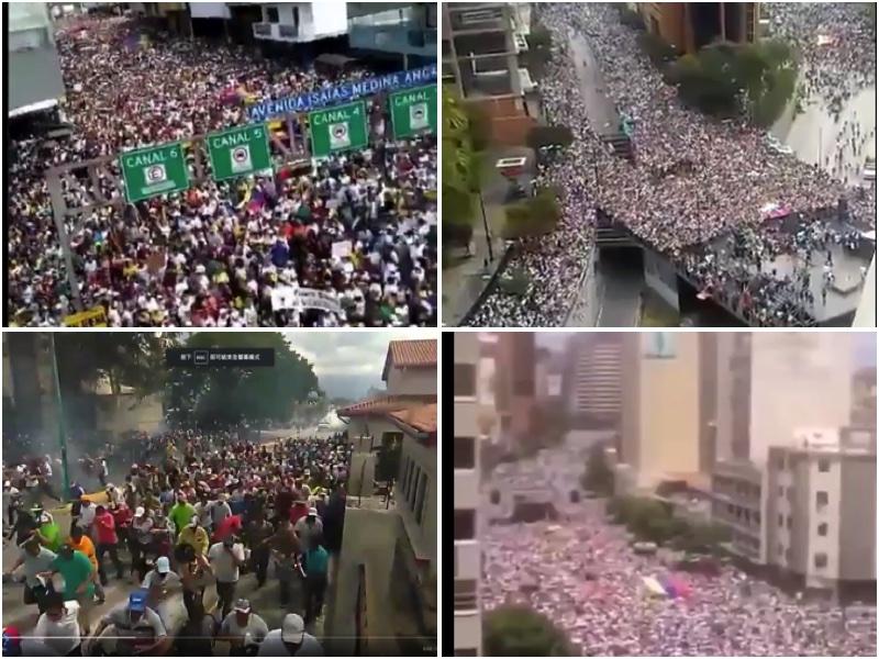委內瑞拉10萬民眾上街支持反對派領袖,推翻獨裁暴政。(大紀元合成圖)
