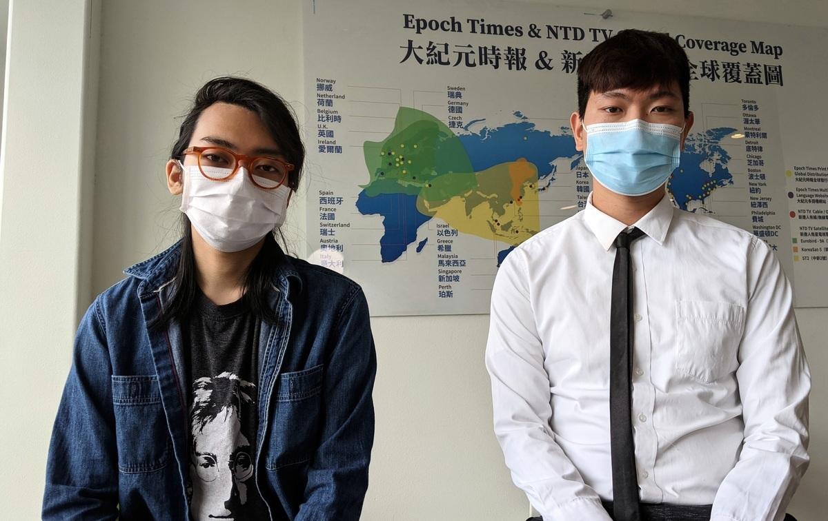 4月24日,梁凱爾(Kyle Leung,右)、林斯威(Stewie Lam)接受洛杉磯大紀元、新唐人專訪,分享自己流亡的心路歷程與洛杉磯新生活。(徐繡惠/大紀元)