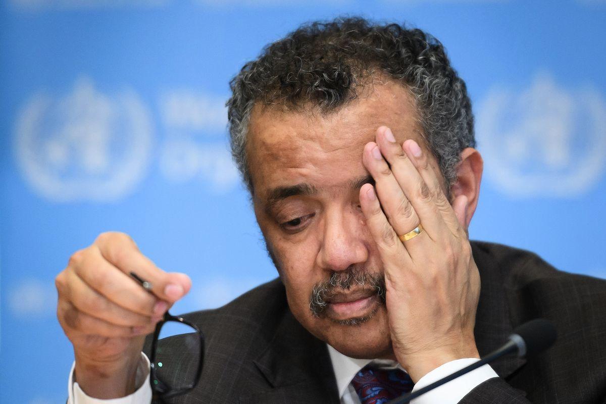 圖為世界衛生組織總幹事譚德塞。(FABRICE COFFRINI/AFP via Getty Images)
