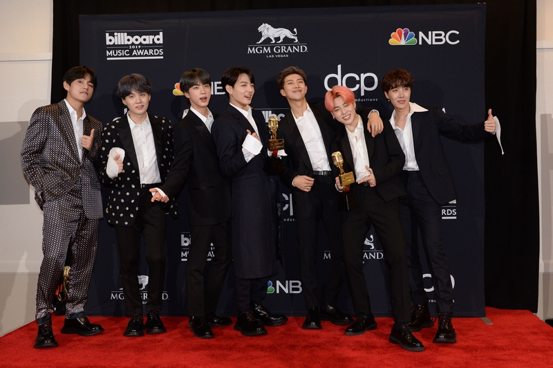 南韓人氣男團防彈少年團(BTS)出席2019 Billboard Music Awards資料照。(BRIDGET BENNETT/AFP/Getty Images)