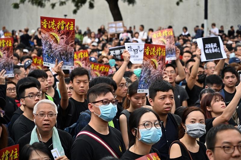 2019年7月7日,香港九龍舉行反送中大遊行,參加民眾擠爆街道。 (HECTOR RETAMAL/AFP/Getty Images)