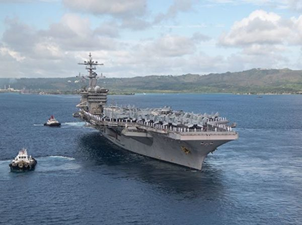 2020年6月4日,美軍羅斯福號航空母艦(CVN 71)離開關島的阿普拉港,正式重新部署。在過去2個多月中,羅斯福號航母克服了中共病毒疫情後,也完成了一系列部署前的航行認證。(美國太平洋司令部)