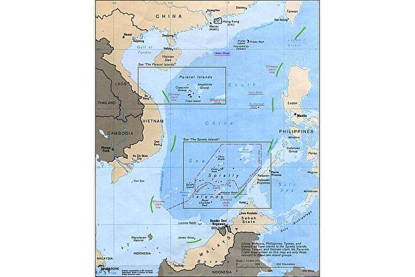 維州多個學校使用的中文教科書中出現中共聲稱擁有主權的九段線南海地圖一事被曝光,此事件引發了澳洲各界擔憂。(美國政府)