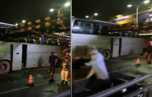 廣西桂林一旅遊大巴撞上限高架 致1死6傷