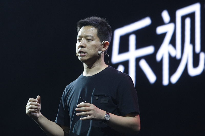 2013年5月,時任樂視董事長賈躍亭出席樂視TV超級電視發佈會。(大紀元資料室)