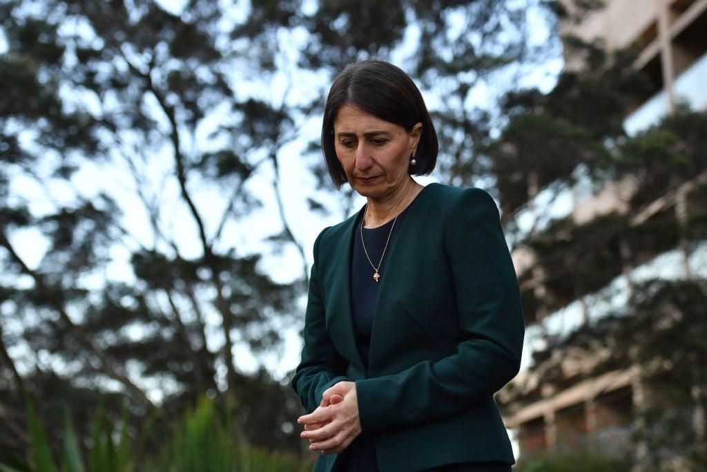 2020年10月12日,澳洲新南威爾斯州長貝雷吉克利安(Gladys Berejiklian)在接受腐敗調查中承認,自己跟親中共的政客保持私密關係。(Sam Mooy/Getty Images)